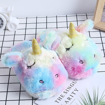 Girls Slippers Unicorn Cute House Slippers Ladies Pink Winter Girls Slippers
