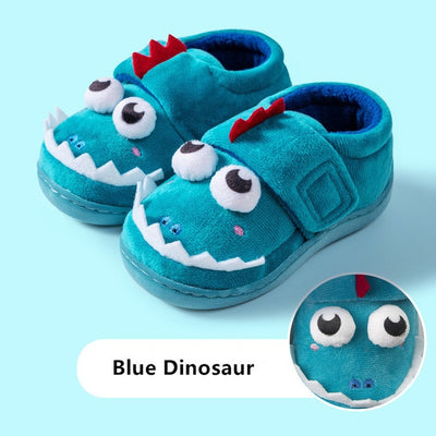 Kits Dinosaur House Slippers Toddler Kids Fuzzy Indoor Shoes - Size 1.5 - 12.5
