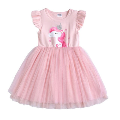 Girls Tutu Dresses Kids Unicorn Princess Fare Sleeve Costumes 3T - 4T