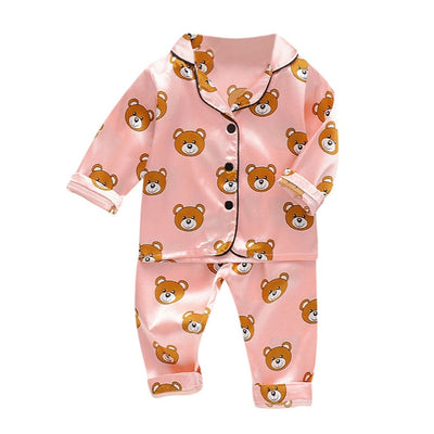 Kids Pajamas Long Sleeve Toddler Boys and Girls Sleepwear Bear Print