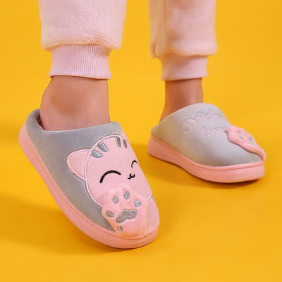 Kids Winter Slippers Baby Boys Girls Cartoon Cat Non-slip Indoor Shoes - Size 22-25