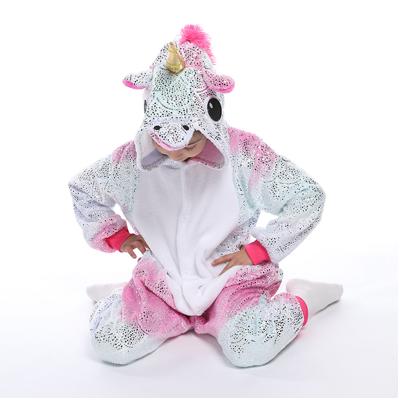 Kids Unicorn Onesie Pajamas Animal Christmas Halloween Cosplay Costume Sleepwear Size 6-12