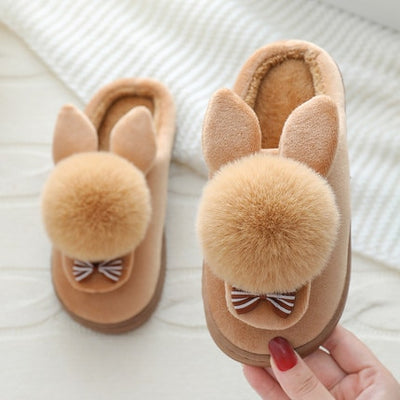 Kids Boys Girls Winter Slippers Cartoon Rabbit Gray Slippers