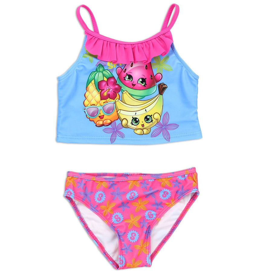 Shopkins Girls' Tankini 2-Piece Swimsuit, Pink/Blue
