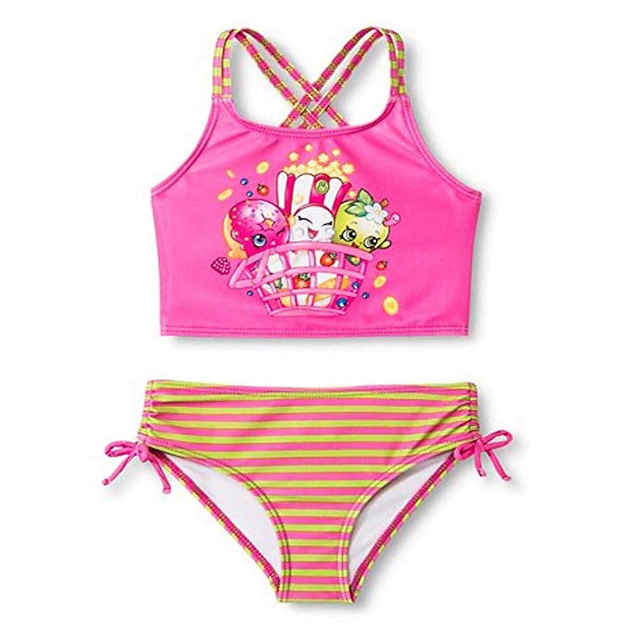 Shopkins Girls' Two-Piece Tankini Swimsuit, Pink, Sizes 4 & 5