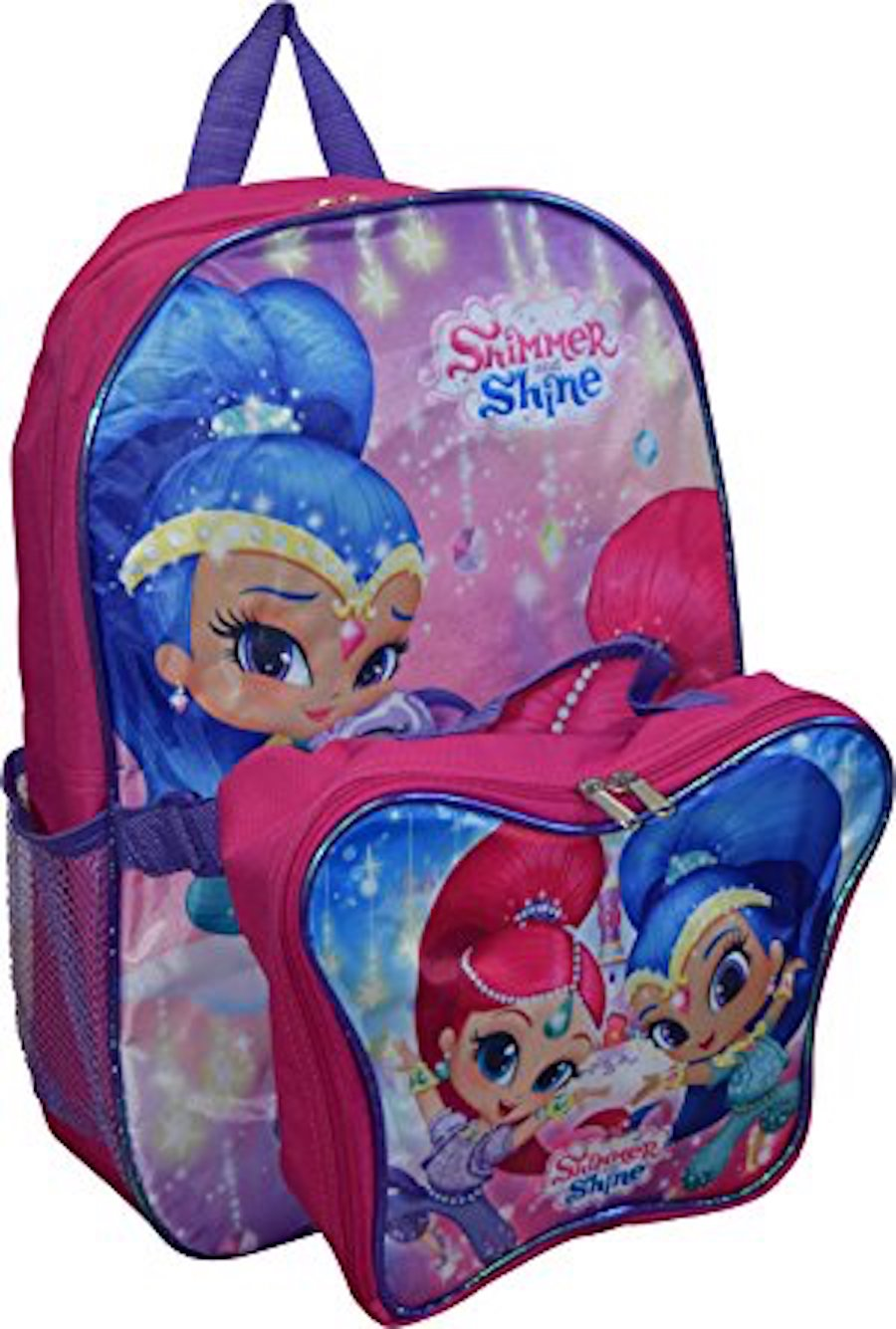 "Shimmer and Shine 16"" Backpack With Detachable Matching Lunch Box PLUS Hair Accessory Set - Multi-Value Bundle"
