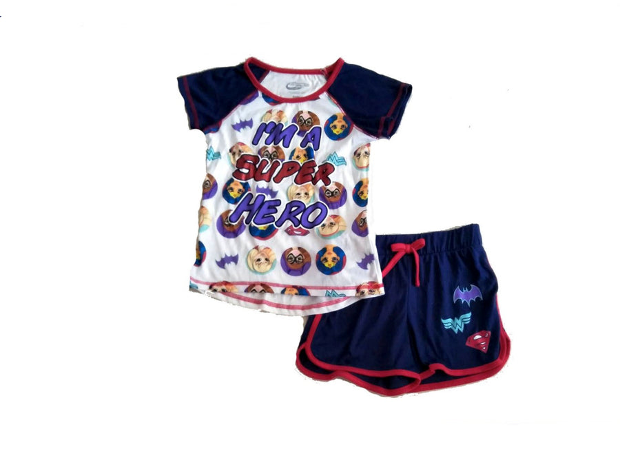 Superhero Big Girls 2PC Pajama Top & Short Set Sleepwear Batgirl Supergirl & Wonder Woman - Navy