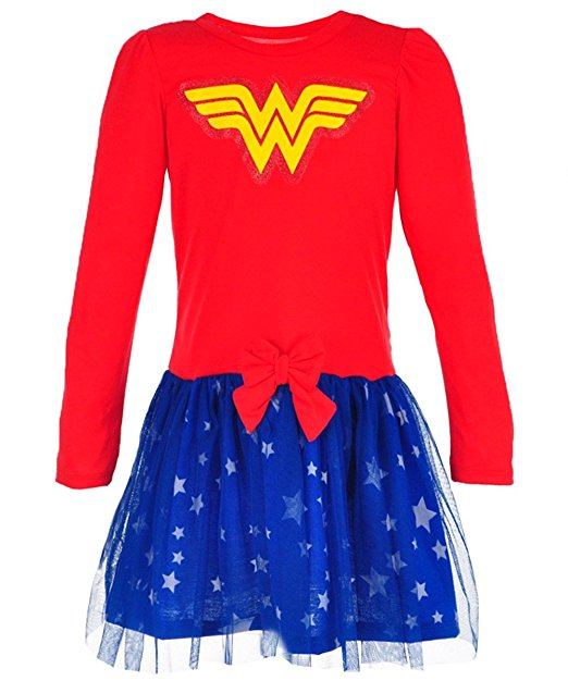 DC Comics Girls Wonder Woman Dress, Red/Royal Blue