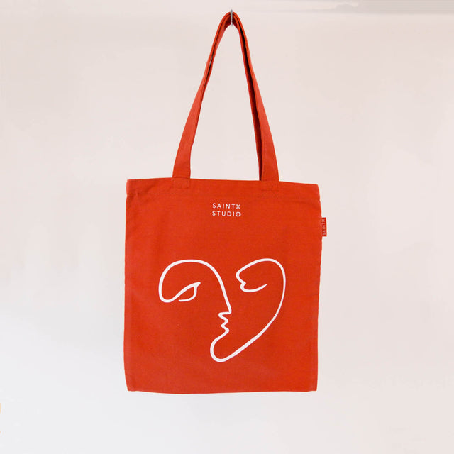 Carry Tote | A Kiss Canvas Tote Bag SAINTX STUDIO