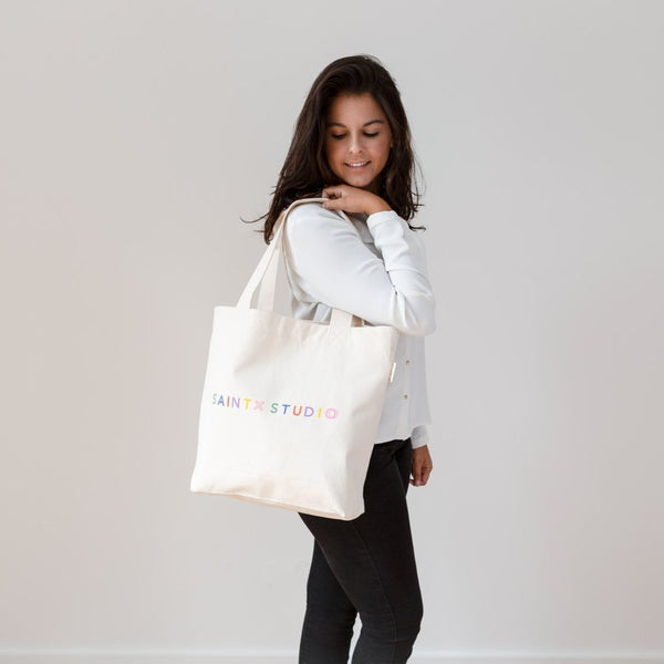 Market Tote | Rainbow Canvas Tote Bag SAINTX STUDIO