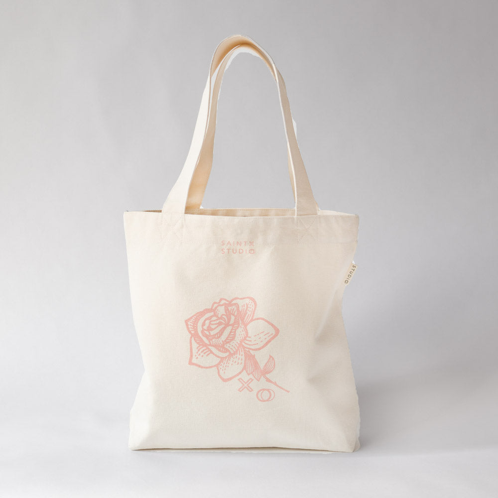 Market Tote | Pastel Rose Canvas Tote Bag SAINTX STUDIO