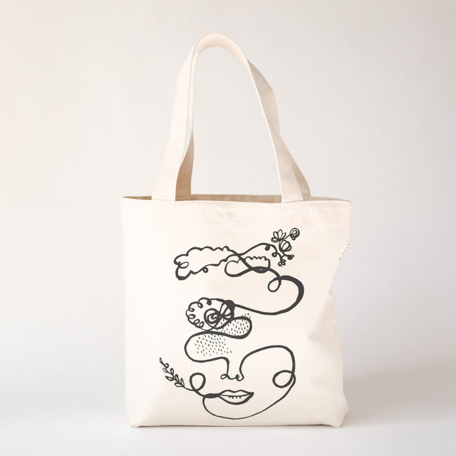 Market Tote | Cloudface Canvas Tote Bag SAINTX STUDIO