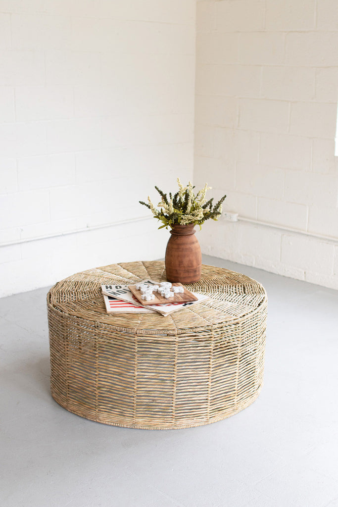 Hand-Braided Round Seagrass Ottoman (Instore Pickup)