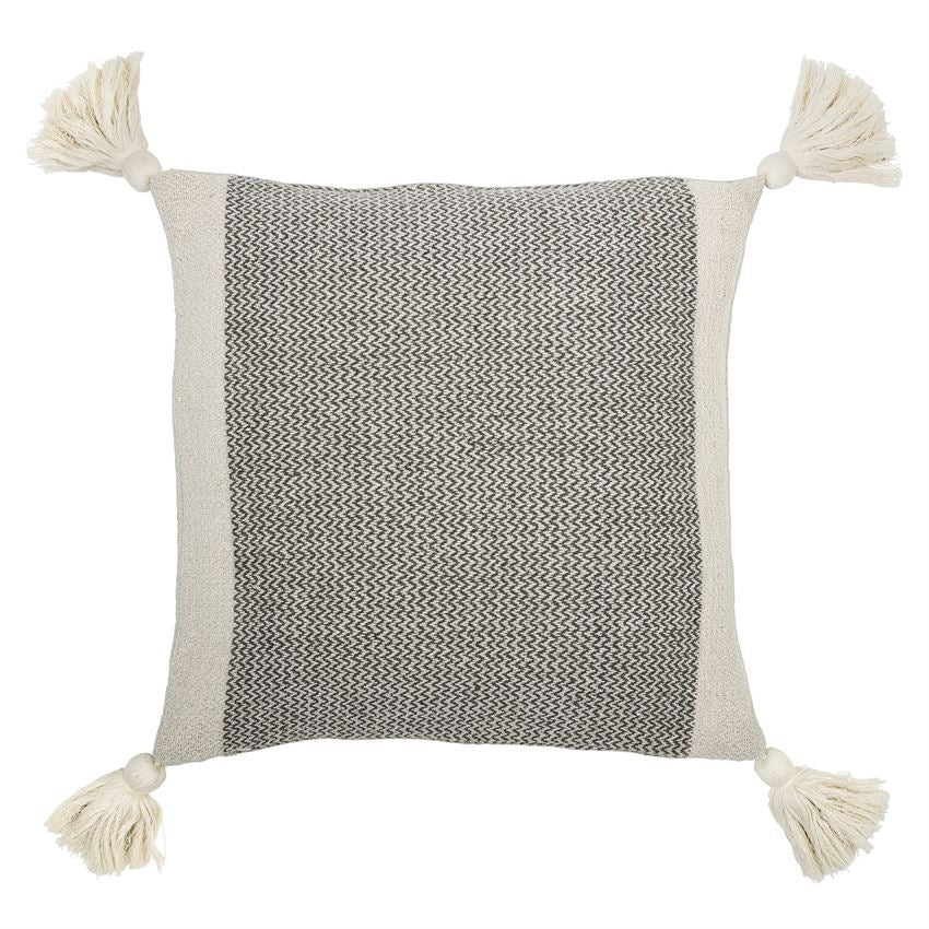 Grey Cotton Blend Pillow w/ Tassels