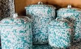 Grey, Turquoise, or Red Enamelware Canister Set
