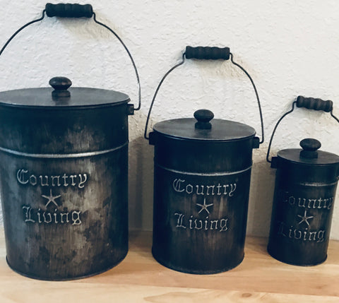 Country Decor Metal Canister Set