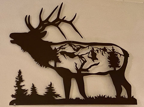 Metal Elk Wall Hanging Wildlife Decor