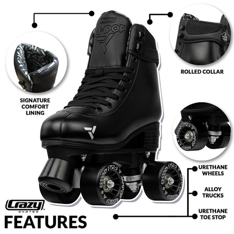 kids adjustable roller skates Crazy Jam pop