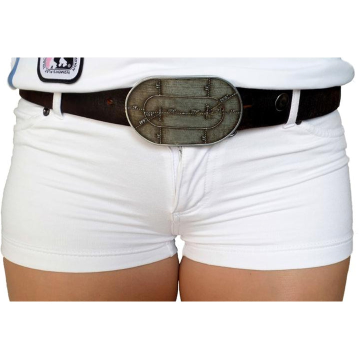 Flat Track Belt Buckle by Jackie Daniels