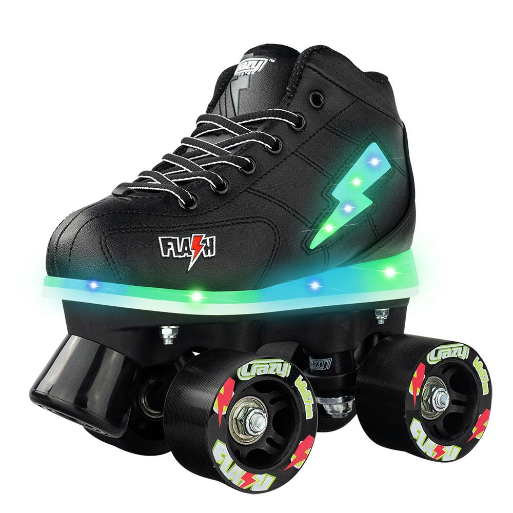 The Flash is a children's high-top sneaker style skate that features multiple LED lights, quality components, and has been designed for comfort.