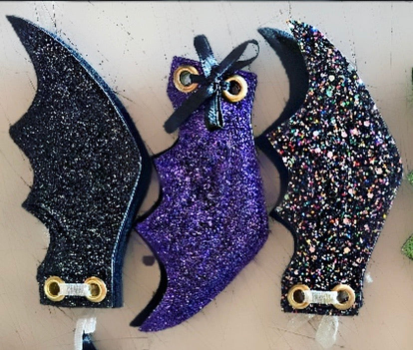 Glitter Bat Wing Lace Charms