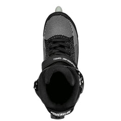 Powerslide Swell Lite Black 1OO Inline Skate view from the top of the skate looking into the boot