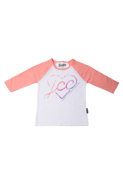 3/4 Sleeve Raglan Tee with Heart