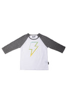 3/4 Sleeve Raglan Tee with Lightning Bolt
