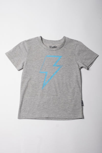 Short Sleeve Gray Tee with Lightning Bolt