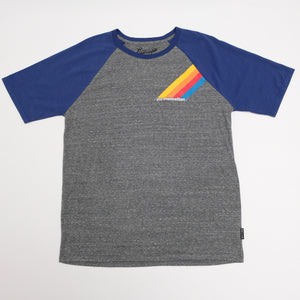 Adult Short Sleeve Tee in Gray with Navy Sleeves
