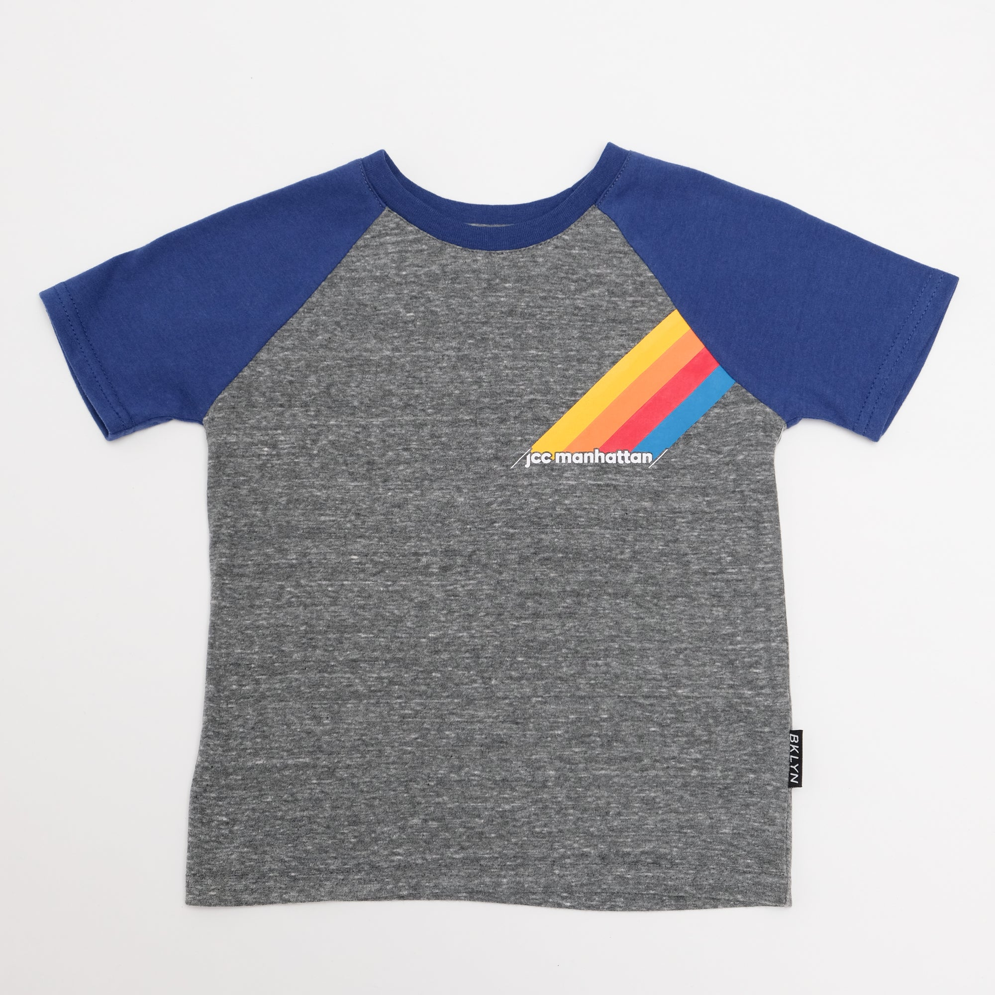 Short Sleeve Tee in Gray with Navy Sleeves