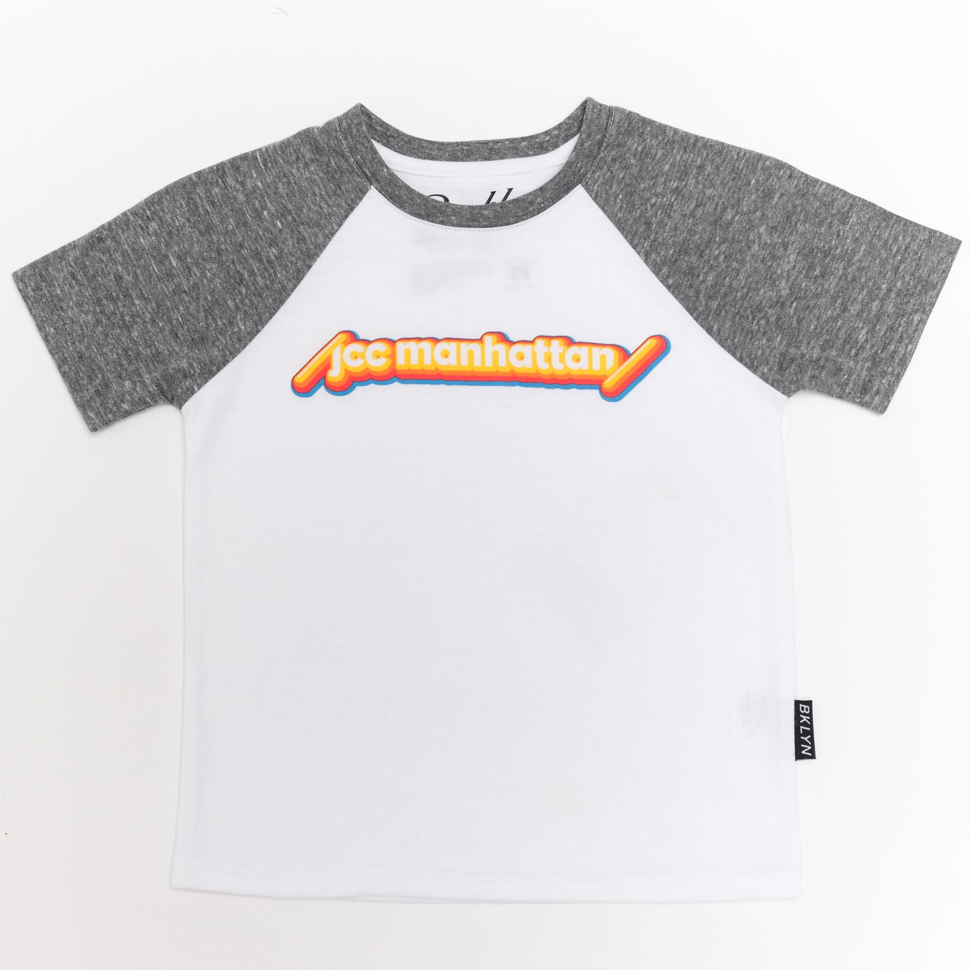 Short Sleeve Tee in White with Gray Sleeves
