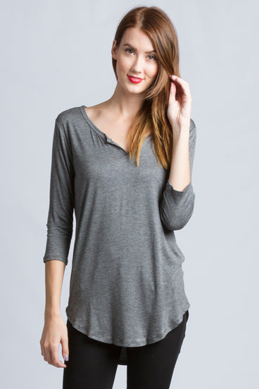 3/4 Sleeve Slot Neck T-Shirt Top In Charcoal