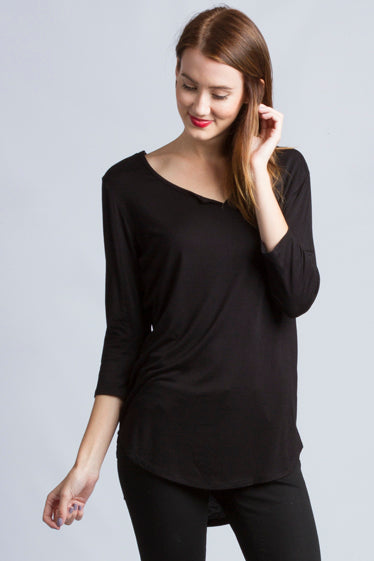 3/4 Sleeve Slot Neck T-Shirt Top In Black