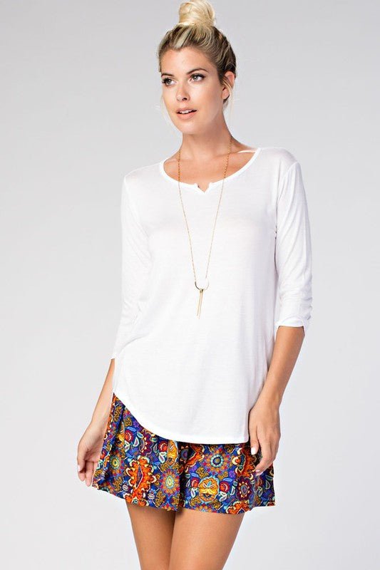 3/4 Sleeve Slot Neck T-Shirt Top In White