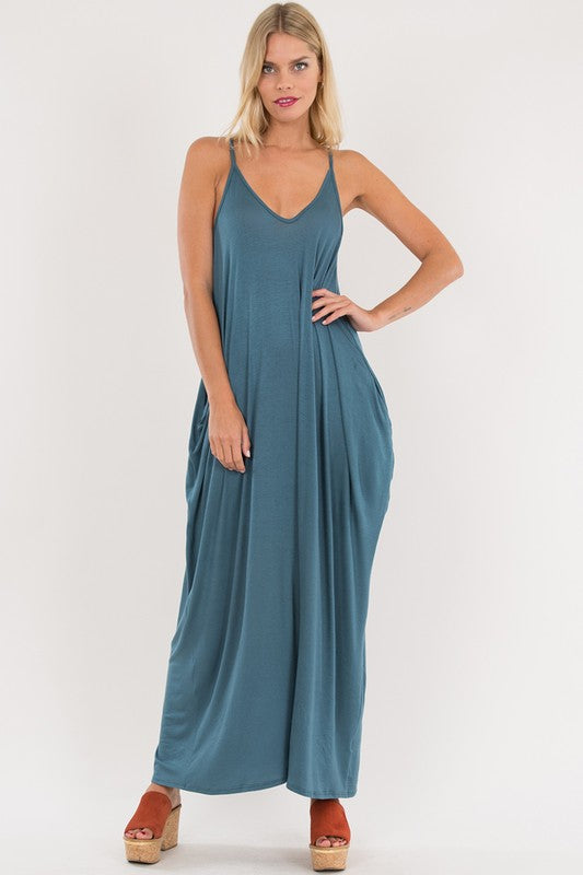 Harem Maxi Dress (Dusty Teal)