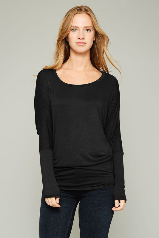 Dolman Sleeve Round Neck Top in Black