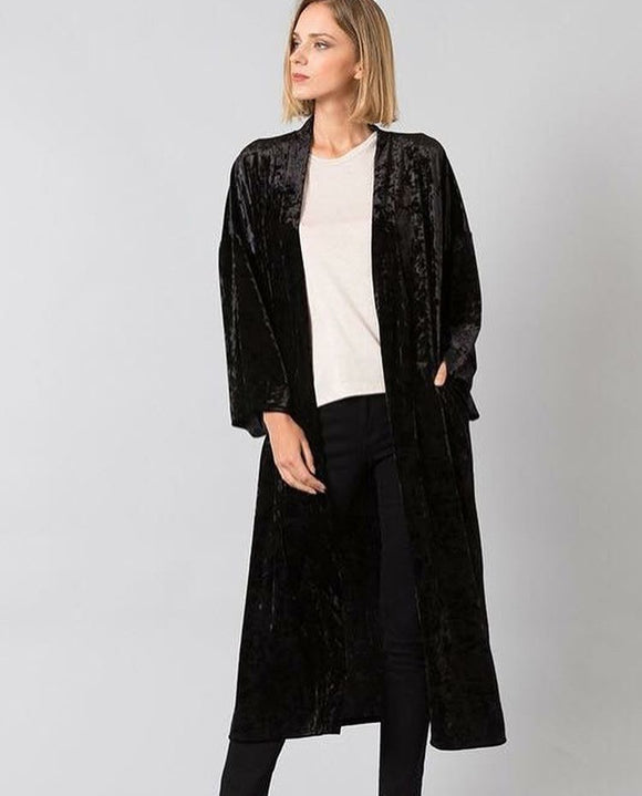 Crushed Velvet Open Kimono in Black