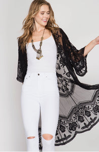 Crochet Half Sleeve Lace Midi Duster Cardigan Black