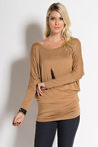 Dolman Sleeve Round Neck Top in Blush