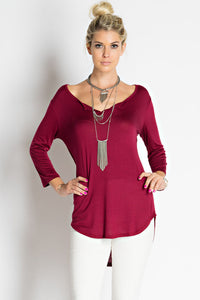 3/4 Sleeve Slot Neck T-Shirt Top In Burgundy