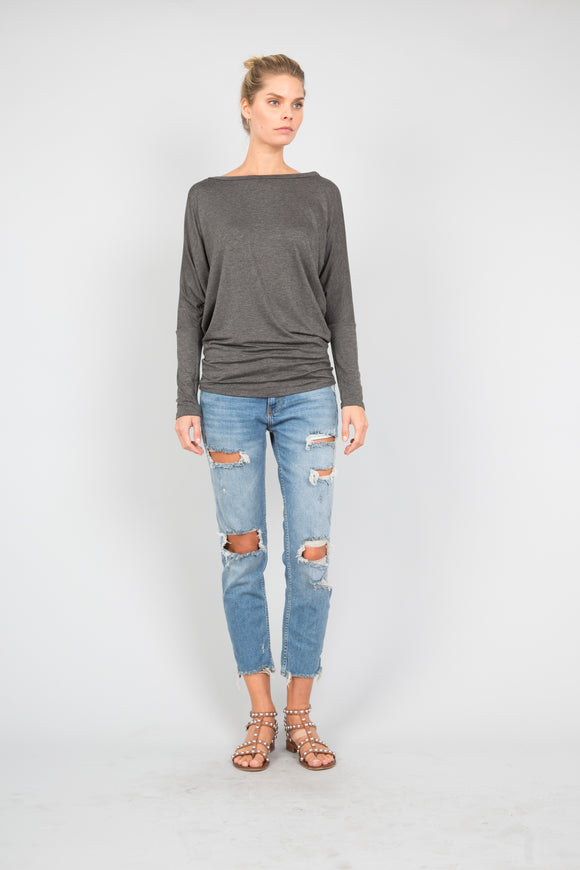 Dolman Sleeve Round Neck Top in Charcoal
