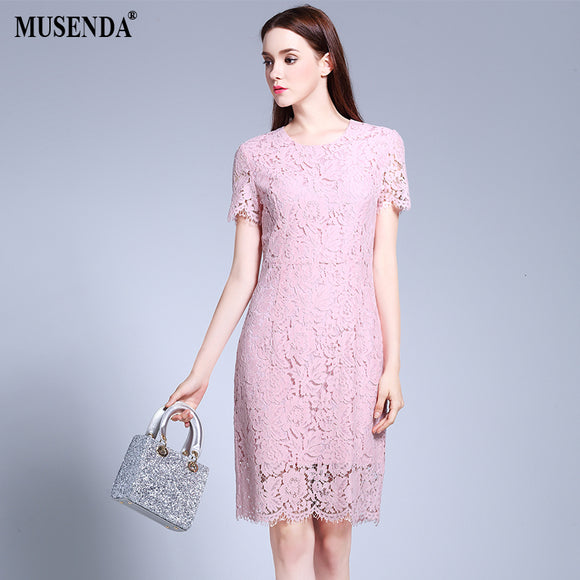 Curvy Women Lace Pencil Pink Dress