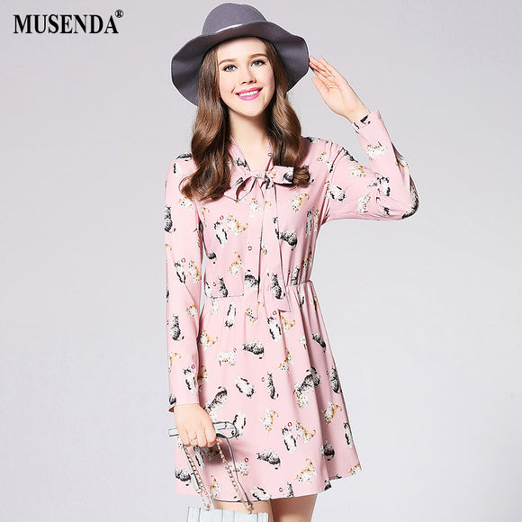 Curvy Pink Chiffon Cat Print Bow Dress