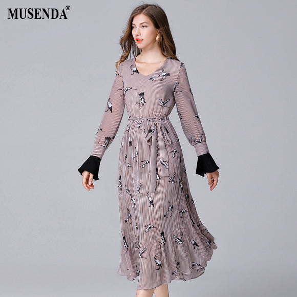 Curvy Crane Striped Chiffon Long Dress