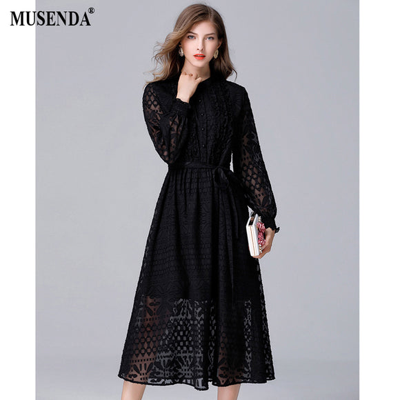 Curvy Black Hollow Out See Through Lace Long Dress