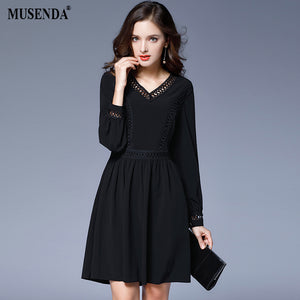 Curvy Women Black Chiffon Dress