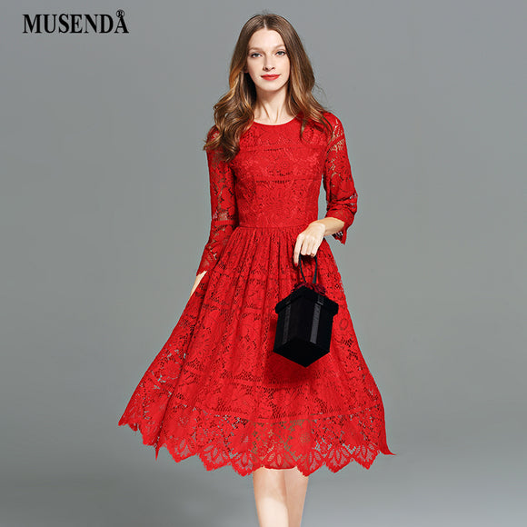 Curvy Elegant Red Hollow Out Lace Dress