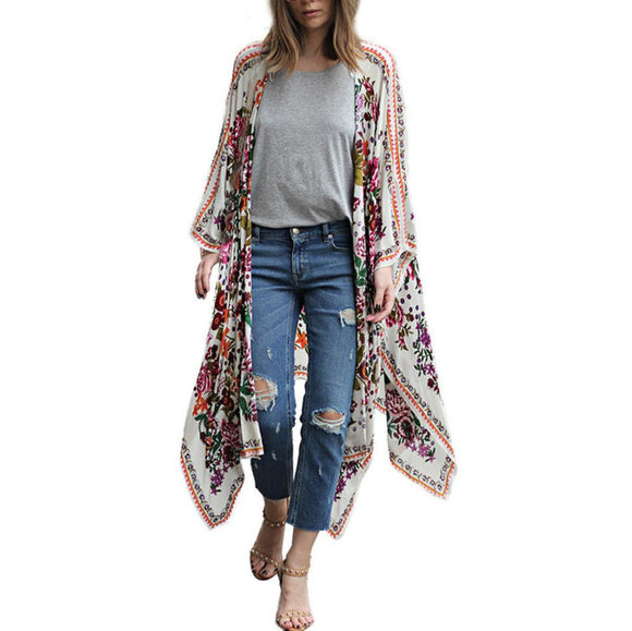Feitong Blouse Women Multicolor Vintage Women Floral Print Chiffon Loose Shawl Kimono Cardigan Top Cover up Shirt Blusa