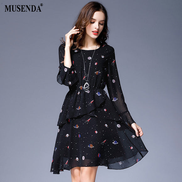 Curvy Black Star Print Chiffon Short Dress
